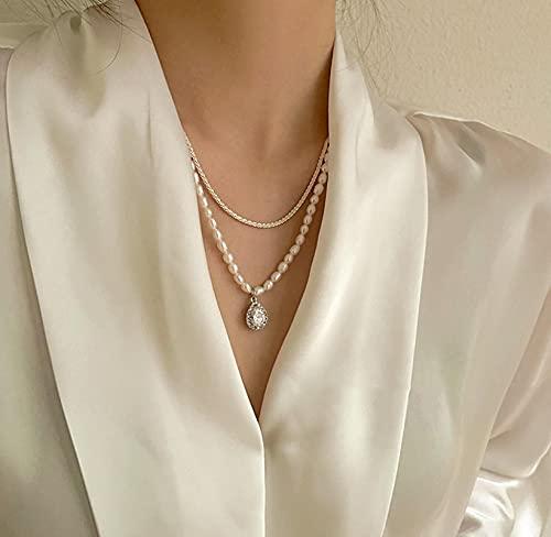 Halskette für Damen, Süßwasserperlen, Mehrschicht Perlen Halsketten Set, Hals-Kette Silber 925, Pearl Necklace,...