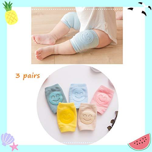 Jungen und Mädchen, rutschfeste Ellenbogen Baby, Kleinkind-Baby-Zubehör-Kniepolster Sicherheit Kniepolster (3Pcs Zufällige Farben) kriechen
