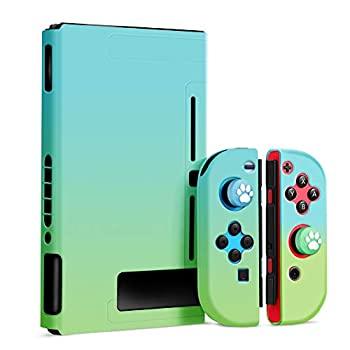 Protective Case for Nintendo Switch OMKUY Cute Hard Shell NS Grip Protector Cases Coming with 2 Piece Thumb Covers  Blue and Green