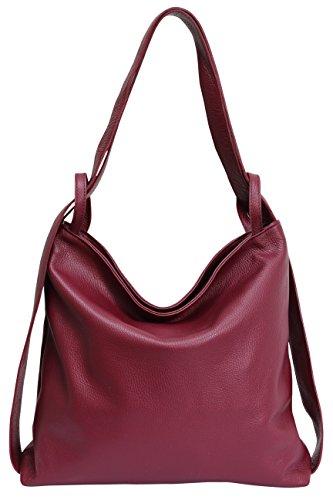 AmbraModa Italienische Ledertasche, Damen handtasche rucksack 2 in 1 Damenrucksack Daypack Schultertasche Damen Handtasche Beutel GL019, Bordeaux, XL