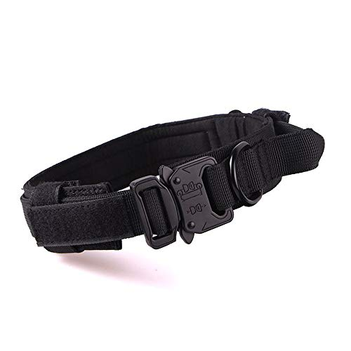 Tactical Military Dog Collar K9 Training Collar Thicken Nylon Dog Harness with Handle Quick Release Metal Buckle Hook & Loop Adjustable Collar for Large Medium Dog(Black,M)