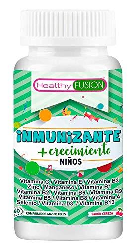 Completo complejo multivitamínico para niños y niñas | Favorece el crecimiento y refuerza su sistema inmunológico | Proteja a su hijo de gripes, resfriados e infecciones | 60 masticables sabor cereza