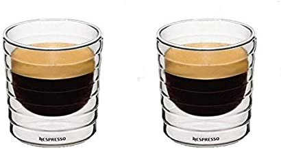 Nespresso double layer wall thermal Glass coffee and Tea Cup mugs 150ml Set of 2 pcs