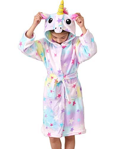 Ksnnrsng Kinder Sanft Einhorn Mit Kapuze Bademantel Nachtwäsche - Einhorn-Geschenke für Mädchen (Star, 4 Jahre)