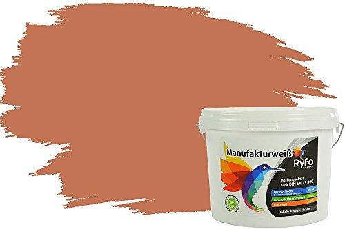 RyFo Colors Bunte Wandfarbe Manufakturweiß Terracotta 3l - weitere Orange Farbtöne und Größen erhältlich, Deckkraft Klasse 1, Nassabrieb Klasse 1