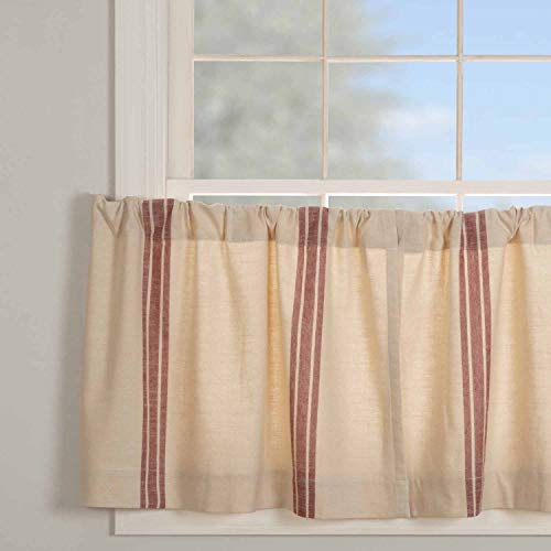 """Market Place Red Grain Sack Stripe Tier Curtains, Set of 2, 24"""" Long, Farmhouse Style Brick Red & Natural Cream Tiers/Café Curtains"""