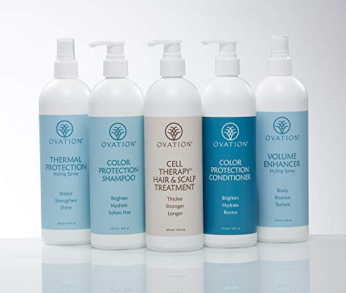 Ovation Hair Holiday Gift Set - Color System w/Cell Therapy - Get Stronger, Fuller & Healthier Looking Hair - Includes Shampoo, Conditioner, Cell Therapy, Thermal Protection Spray, Volume Enhancer Spray