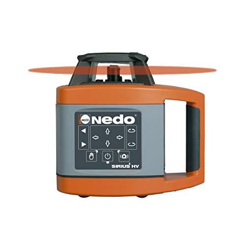 Nedo SIRIUS 1 HV horizontal und vertikal selbstnivellierender Rotationslaser mit Nedo Kurbelstativ und Flexilatten-Set - Baulaser Nivellierlaser mit ACCEPTOR 2 Digital u. Klammer, Laserklasse 2 - 5