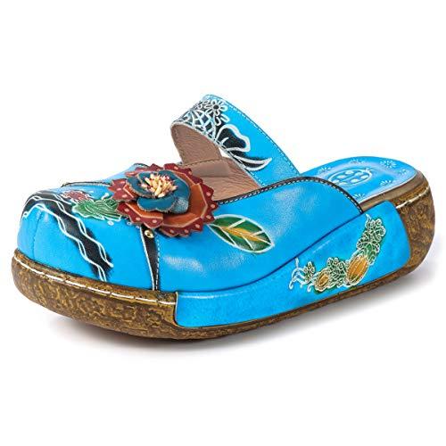 gracosy Zuecos Cuero Mujer, Zapatos Cuña Verano 2019 Tacon Plataforma Bohemias Casual Boda Fiesta Sandalias Mules Vestir con Flor Niña Azul Rojo Verde Gris Grandes
