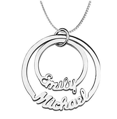 Madeindirect Namenskette Personalisierte 925 Silber Halskette Choker Anhänger mit Namen Angepasst Name Anhänger Paar oder Familienmitglieder Halskette