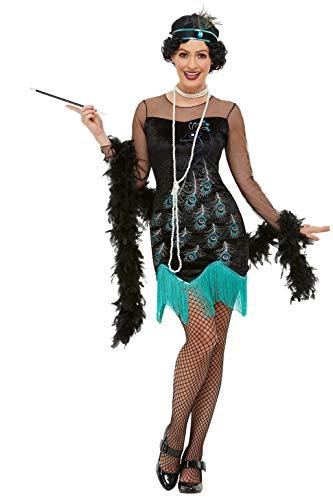 Smiffys 47780L 20s Pauw Flapper kostuum, Vrouwen, Groen & Blauw