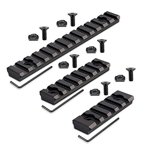 YeVhear M-Lok montaje en riel riel Picatinny, aluminio negro Durable 5 vías 7 vías 9 vías 11 vías 13 vías con tornillos y llaves Allen