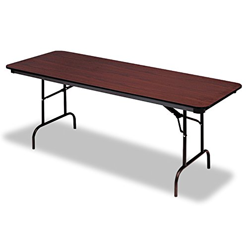 "Iceberg ICE55224 Premium Wood Laminate Folding Table with Brown Steel Legs, 30"" Length x 72"" Width x 29"" Height, Mahogany"