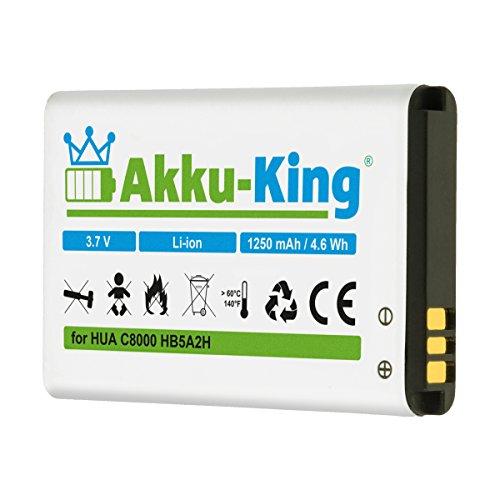 Akku-King Akku kompatibel mit Huawei HB5A2H - Li-Ion 1250mAh - für C8000, E5805, M228, M750, U7519, U8110, U8500, T-Mobile Tap, Pulse Mini