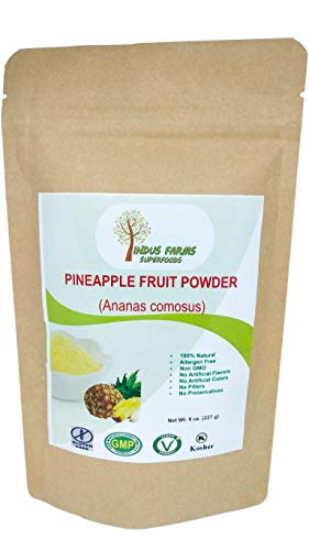 100% Natural Pineapple Powder, 8 oz, Eco-friendly Resealable pouch, No Artificial Flavors/Preservatives/Fillers, Halal, Vegan-Friendly, Non-GMO