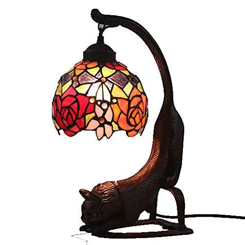 WELSUN Tiffany Schreibtischlampen Nette Katze Tischlampe Tiffany-Art, Kaffee oberflächenbehandelte Legierung Basis (Farbe : Rose)
