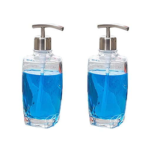 MUMUMI Dispensadores de Jabón, Botellas de Vidrio Transparente Bombas de Acero Inoxidable Dispensador de Jabón Botella de Loción Ideal para Aceites Esenciales Lociones, Dispensadores de Jabón, Jabone