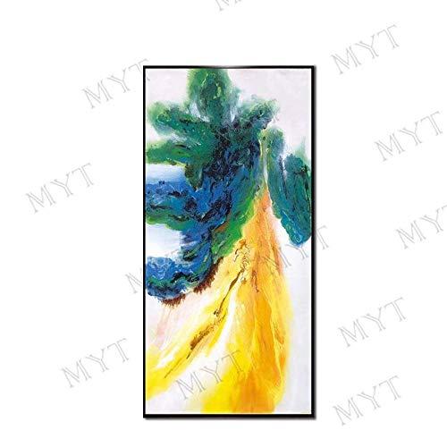 VCYME hand beschilderde olieverfschilderij op doek, abstract elegante plant bloem, gele hemelboom, groot formaat muur kunstwerk muurschildering voor woonkamer dineren kamer, uniek geschenk (Frameless) 100 X 200 cm / 40 x 80 frameless