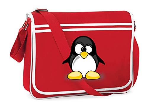 Druckerlebnis24 Schultertasche - Tier Niedlich Pinguin Tux - Umhängetasche, geeignet für Schule Uni Laptop Arbeit