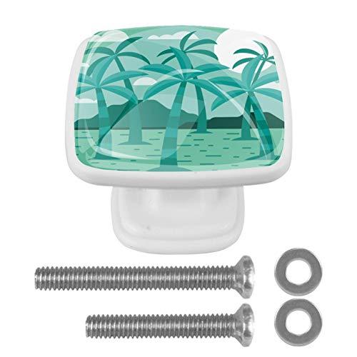 Perilla de cajón de 4 piezas Palmera Palmier Tiradores cuadrados de cristal coloridos del cajón del gabinete para la decoración de Ministerio del Interior 3x2.1x2 cm