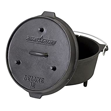 Camp Chef DO-12 Pre Seasoned Cast Iron Dutch Oven, Black
