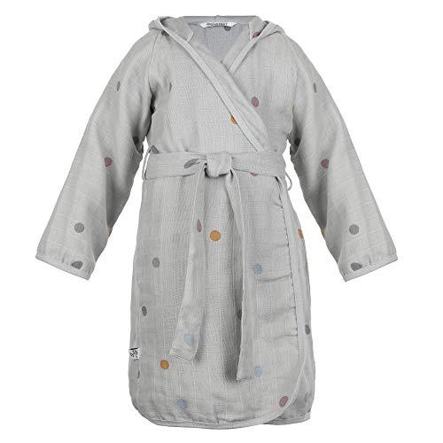 Kindsgut Bata de Muselina, Nino, Puntitos, 100% algodón, en casa o de viaje, fácil de lavar, soft, ecológico y libre de contaminantes