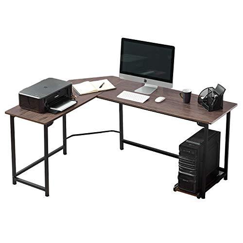 VECELO Computertisch L-förmiger Workstation-Ecktisch,Schreibtisch l Form,Winkelschreibtisch,Eckschreibtisch mit CPU-Ständer Home Office Großer Desktop-PC-Spieltisch, Kaffee (168 * 120 * 75cm)