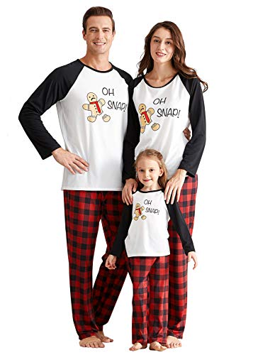IFFEI Matching Family Pajamas Sets Christmas PJ's Holiday Christmas Snap Printed Sleepwear with Plaid Pants Men: XL