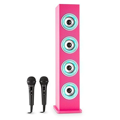 auna Karaboom - Karaoke Anlage, Karaoke Player, Karaoke Set, Turmlautsprecher, vier Breitbandlautsprecher, Bassreflex, Bluetooth, 2 x dynamisches Kabelmikrofon, USB-Port, AUX, LED, pink