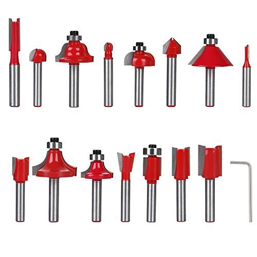 flintronic Fresas Set, 15 PCS Cortadores Madera de Diámetro
