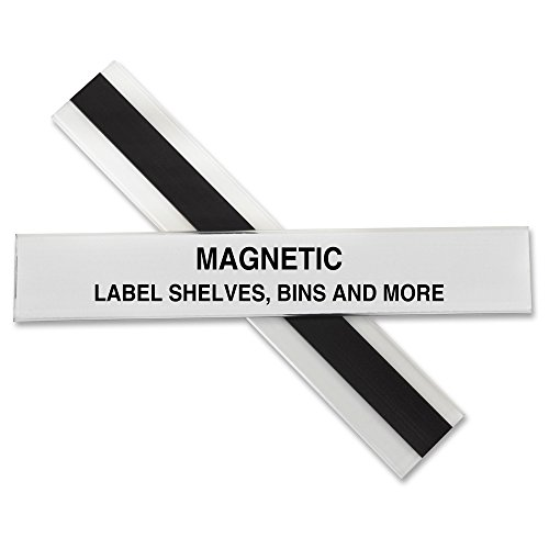 C-Line HOL-DEX Magnetic Shelf/Bin Label Holders, 1 x 6 Inches, 10 per Box (87227)