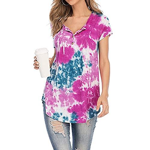 Mujer Camiseta Tie Dye con Botones Camisas Manga Corta de Cuello en Redondo para Mujer Blusas de Mujer Suave y Cómodo Túnica Elegante Tops de Verano Casual Ideal para Trabajo,Cita,Fiesta