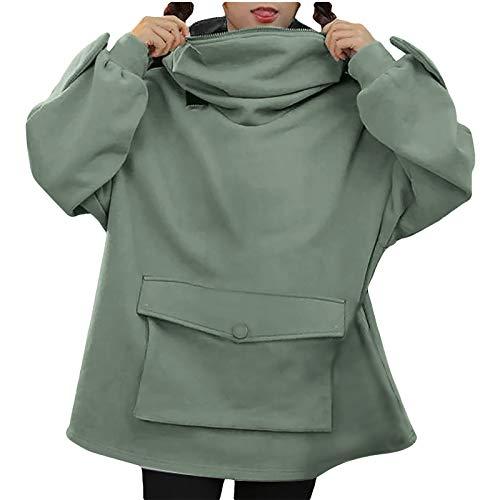 QiFei Damen niedlichen Frosch Hoodie Übergroße Dicke Lässige Lose Grüne Reißverschluss Kapuzenoberteil mit Tasche