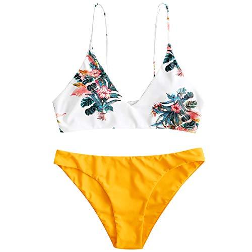 ZAFUL Damen Gepolsterter Bikini Set Bademode Badeanzug mit Blatt Pattern Zweiteilig Goldgelb Medium