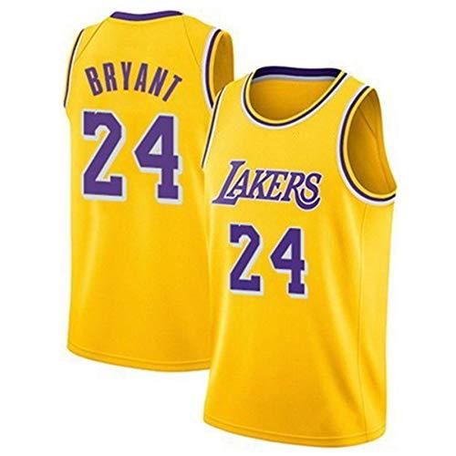 QJJ Camiseta de baloncesto Lakers 24# Kobe Bryant para hombre, edición de la ciudad, bordado Swingman, unisex, casual, deportes, camiseta sin mangas, color amarillo-XL