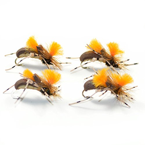 The Fly Fishing Place Brown Becho Foam Body High Visibility Grasshopper Dry Fly 4 Flies Size 10