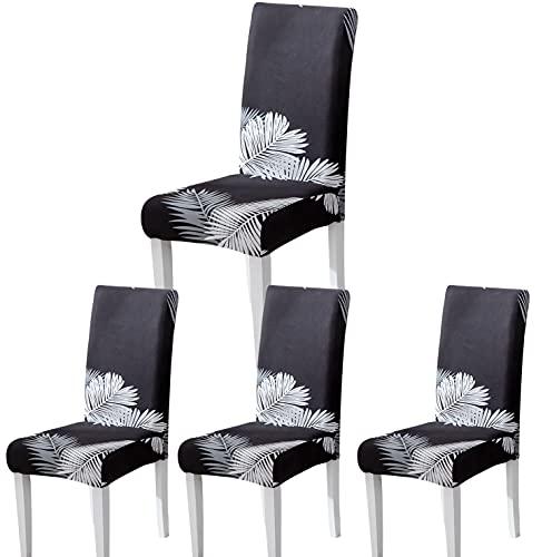 Fundas Sillas de Comedor, Fundas para Sillas Pack 4/6 Fundas Sillas Ajustables Elásticas Chair Covers Modernas Lavables para Banquetes Oficina Hogar Restaurante Bar (Moderno E, Pack 4)