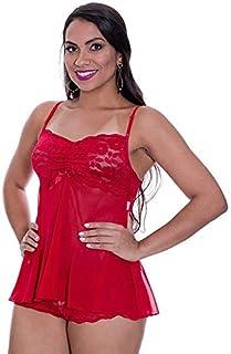 Baby Doll em Tule e Renda Transparente Preto Vermelho ou Violeta Angel - GL272