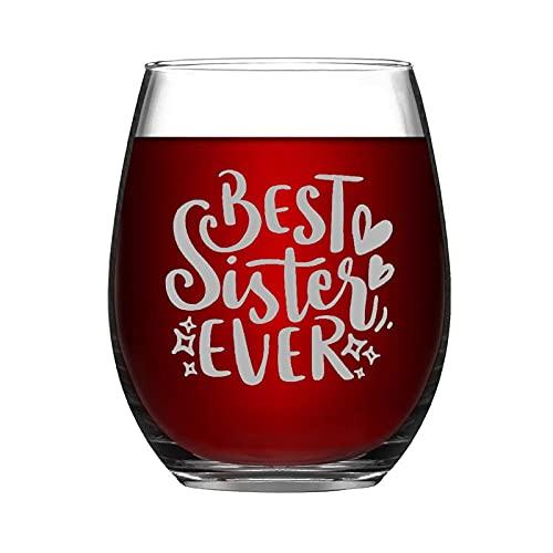 Copa de vino sin tallo divertida con citas positivas de la mejor hermana de la historia, regalo inspirador para amigos, mamá, papá, hija