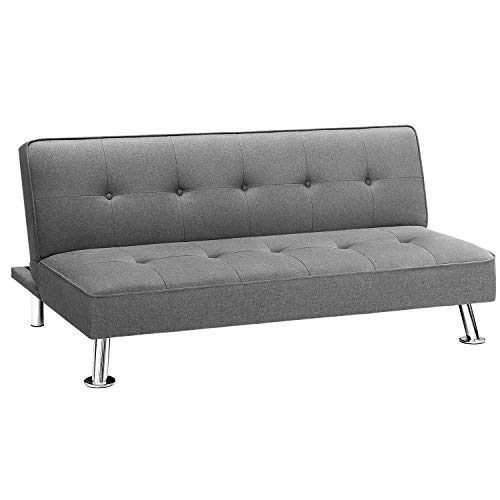 Homall Futon Sofa Bed Modern Collection Convertible Fabric Folding Recliner Lounge Couch for Living Room with Chrome Legs, Grey