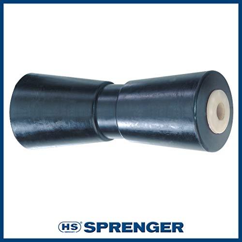 Sprenger V-Kielrolle aus schwarzem Gummi mit Stahlbuchse und Nylonkappe| 195 mm Länge für 200 mm Aufnahme | Stoßdämpfend und langlebig