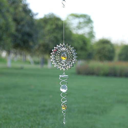 JSANSUI Classroom decoration Foldable Metal Sheets Iron Wire Wind Chimes Home Garden Decoration (Color : W012)