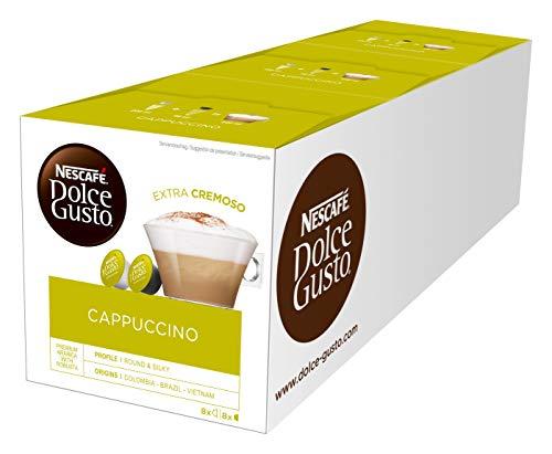 NESCAFÉ Dolce Gusto Cappuccino (Arabica und Robusta Bohnen, Vollmundiger Kaffee und lockerer Milchschaum, Aromaversiegelte Kapseln) 3er Pack (3 x 16 Kapseln)