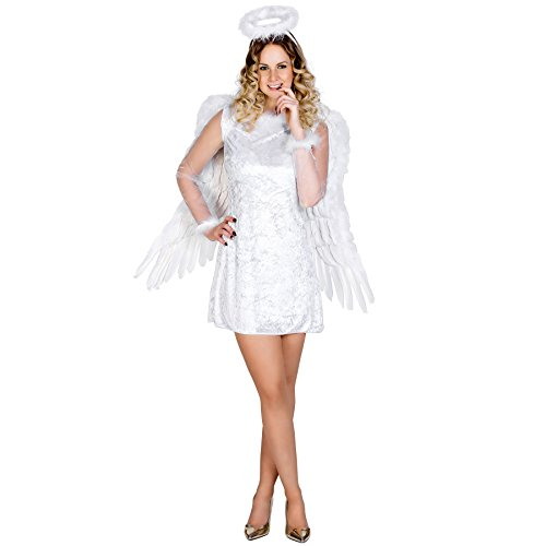 TecTake dressforfun Frauenkostüm sexy Himmelsbotin | Kurzes, figurbetontes Kleid | Wundervolle Tüllärmel | Flauschiger Heiligenschein (M | Nr. 300247)