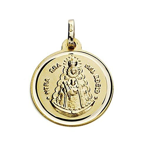 Medalla Oro 18K Virgen Del Rocío 18mm. Bisel [7571Gr] - Personalizable - Grabación Incluida En El Precio