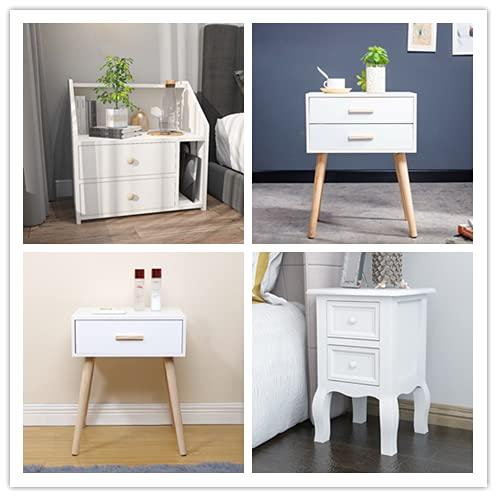 KEEPREAPER Nachttische Weiß Nachttisch mit 2 Schubladen Schlafzimmermöbel D51xW32xH52cm (2 Schubladen)