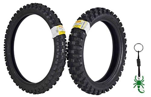 Pirelli Scorpion MX32 Extra X Dirt Bike Front and Rear Motocross Tires Set w Authentic Pirelli Key Chain (80/100-21 F 110/90-19 R)