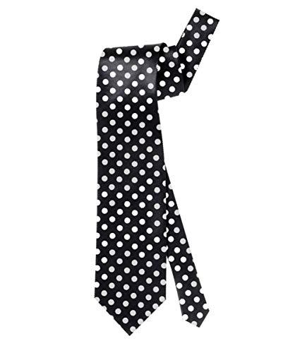 Horror-Shop Schwarze Retro Krawatte mit weißen Punkten