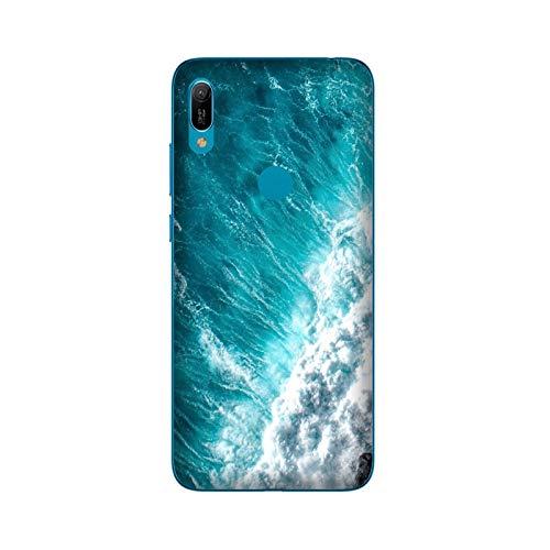 Generico Funda Carcasa Compatible con Huawei Y6 2019 Fingerprint Olas onde Hawai/Imprimir también en los Lados. / Teléfono Hard Snap en Antideslizante Anti-Rayado Resistente a los Golpes rígido