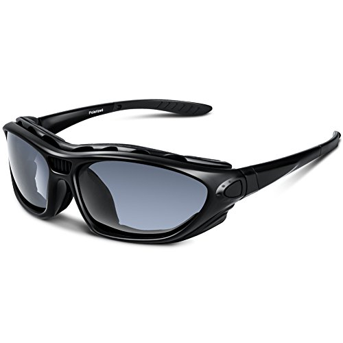 Polarized Sports Sunglasses for Men Women Youth Motorcycle Safety Driving Riding Military Goggles TAC Glasses (Black)